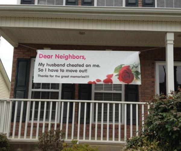 12. Drodzy Sąsiedzi! Mój mąż mnie zdradzał, dlatego się wyprowadziłam. Dziękuję za wspaniałe wspomnienia!