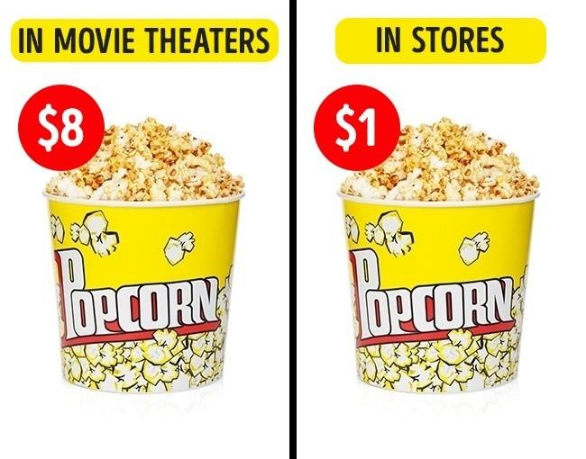 3. Ceny popcornu są zawyżane