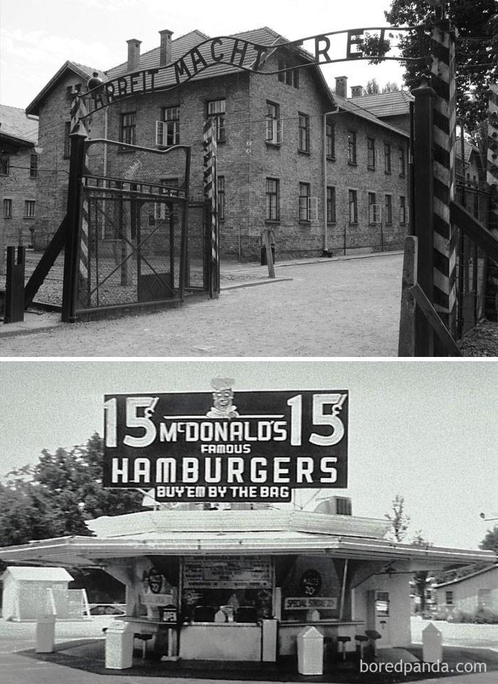 12. Pierwsi więźniowie dotarli do Auschwitz kilka dni po tym jak w Stanach Zjednoczonych powstał pierwszy McDonald's (1940)