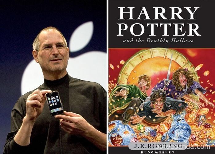 """15. Ostatnia część sagi Harry'ego Pottera - """"Harry Potter i Insygnia Śmierci"""" została opublikowana latem 2007 roku. Tego samego lata, Steve Jobs zaprezentował publicznie pierwszy model Iphone'a"""