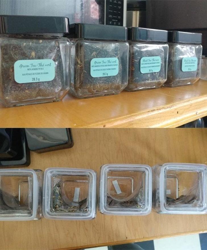 15. Cztery słoiczki herbaty... która zmieściłaby się w pojedynczym