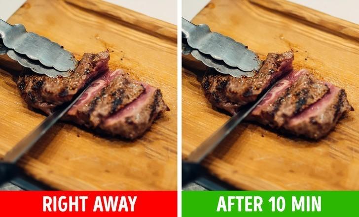 4. Krojenie mięsa bezpośrednio po upieczeniu