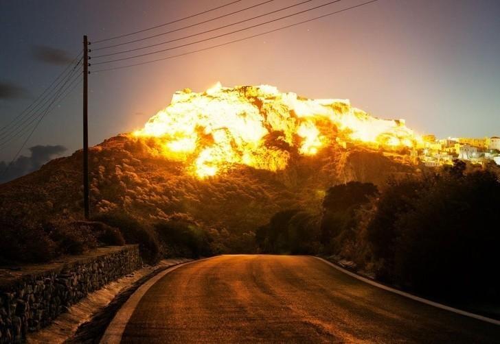 4. Iluzja eksplozji stworzona przez chmury i promienie słońca