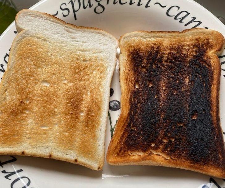 4. 2 kromki wyciągnięte z tego samego tostera, po tej samej ilości czasu