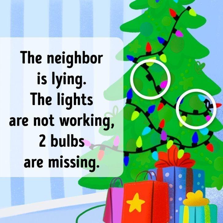 7. Mężczyzna kłamał, gdyż lampki choinkowe u sąsiadki nie działają. Brakuje w nich dwóch żarówek.