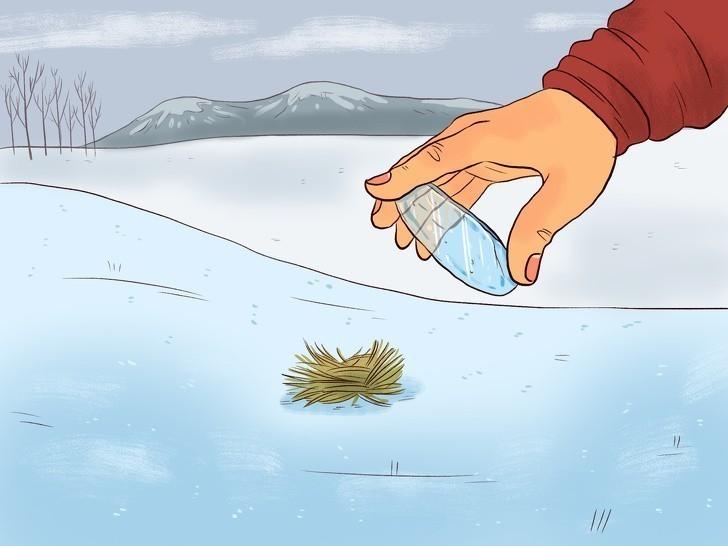 7. Wykonaj soczewki z lodu by rozpalić ogień.