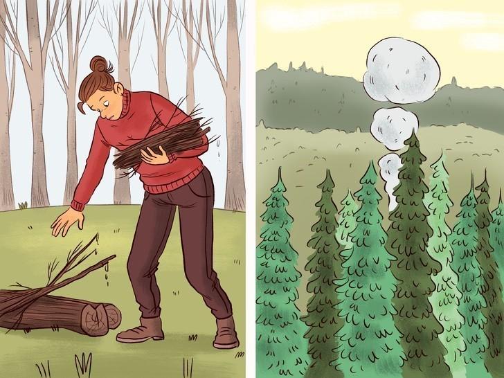 8. Zbierz mokre liście by spalić je i nadać sygnały dymne.