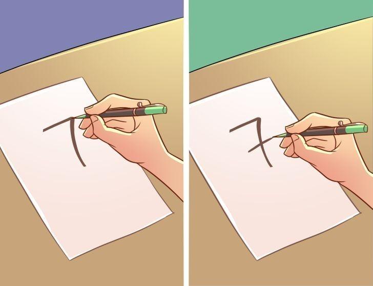 """9. Ludzie, którzy piszą cyfrę """"7"""" z poziomą linią i bez niej"""