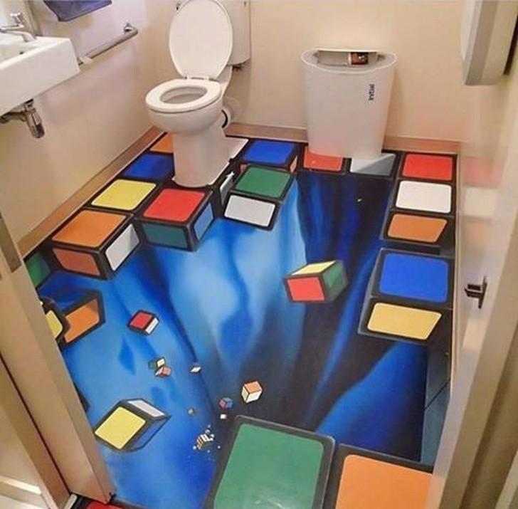 7. Zmień toaletę w pokój iluzji za sprawą oszałamiającej podłogi.