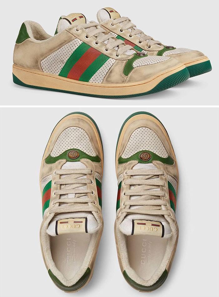 Buty z kolekcji Gucci, celowo wyglądające na zabrudzone