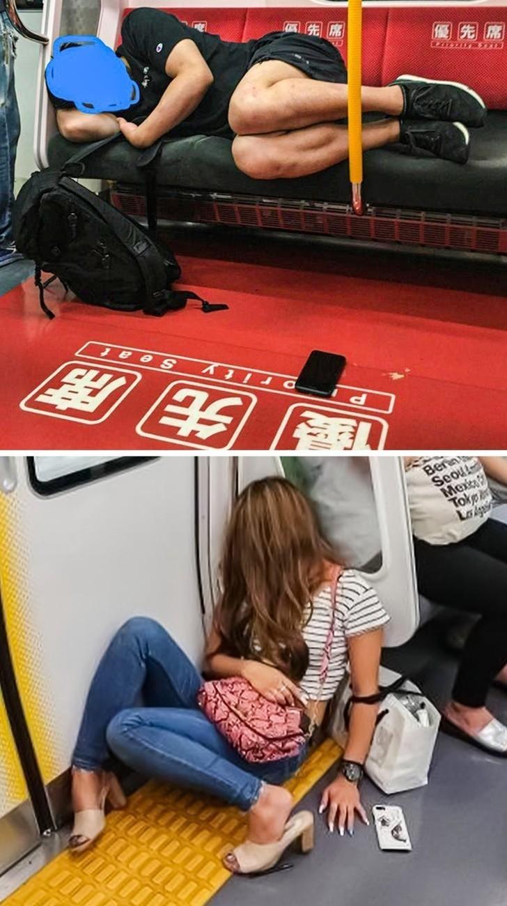 15. Japończycy nie mają oporów przed spaniem w metrze z telefonem leżącym swobodnie obok, gdyż wiedzą, że jest on bezpieczny.
